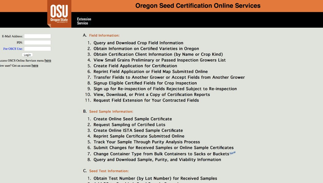 Screenshot of eCertification page.